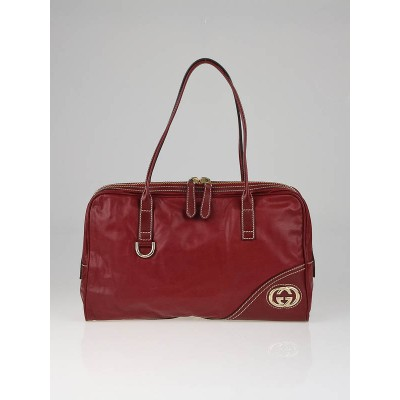 Gucci Red Leather Britt Satchel Bag