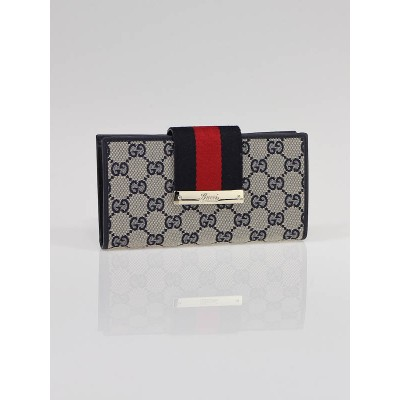 Gucci Blue GG Canvas Vintage Web Continental Long Wallet