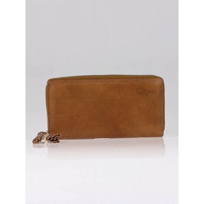 Gucci Cafe Brown Leather Zip Long Continental Wallet