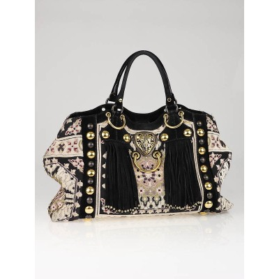 Gucci Fabric and Suede Babouska Medium Tote Bag