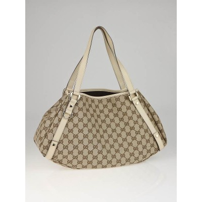 Gucci Brown/White GG Canvas Abbey Medium Tote bag