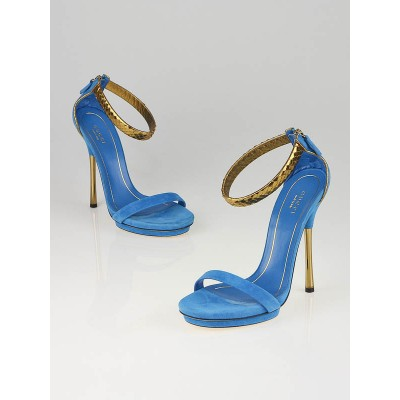 Gucci Turquoise Suede Snakeskin Exotic Ankle Strap Sandals Size 8/38.5