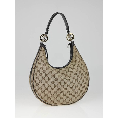 Gucci Beige/Ebony GG Canvas Twins Medium Hobo Bag