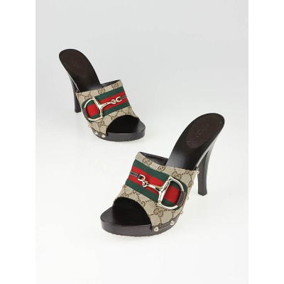 Gucci Beige/Ebony GG Canvas Horsebit Slide Heels Size 11