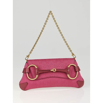 Gucci Pink GG Canvas Horsebit Chain Clutch Bag
