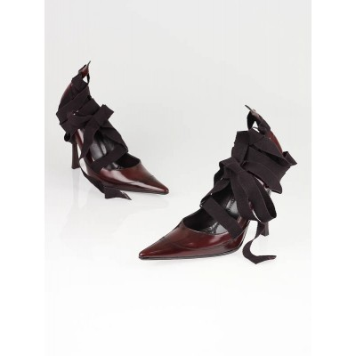 Gucci Burgundy Leather Tie Up Pumps Size 7.5
