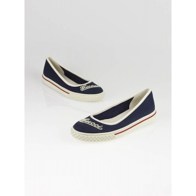 Gucci Navy Blue Fabric Logo Rubber Flats Size 7/37.5