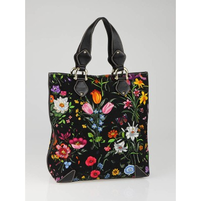 Gucci Black Botanical Floral Canvas Large Tote Bag