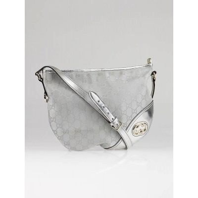 Gucci Silver GG Canvas Britt Messenger Hobo Bag