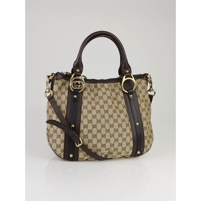 Gucci Beige/Ebony GG Fabric Interlocking Shoulder Bag w/ Strap