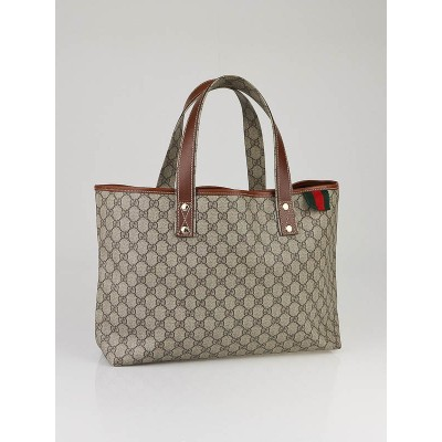 Gucci  Beige/Brown GG Coated Canvas Signature Web Loop Small Tote Bag