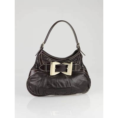 Gucci Dark Brown Leather Queen Medium Hobo Bag