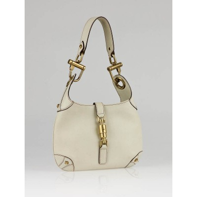 Gucci White Leather Mini Bardot Hobo Bag