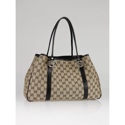 Gucci Beige/Ebony GG Canvas Twins Medium Tote Bag