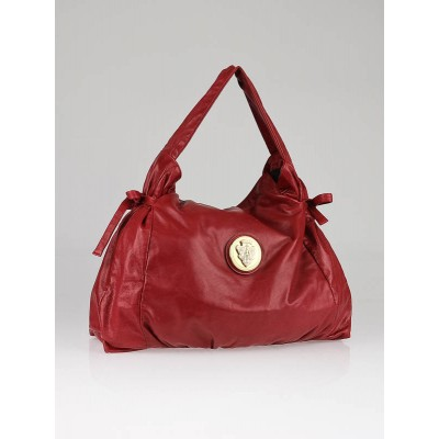 Gucci Red Leather Hysteria Shoulder Hobo Bag