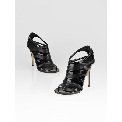 Gucci Black Patent Leather Soraya Open Toe Sandals Size 8/38.5
