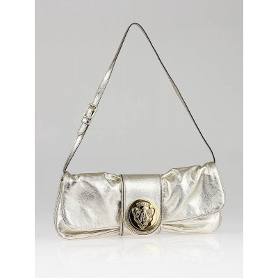 Gucci Gold Metallic Leather Hysteria Clutch Bag