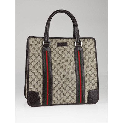 Gucci Beige/Ebony GG Coated Canvas Web Travel Tote Bag