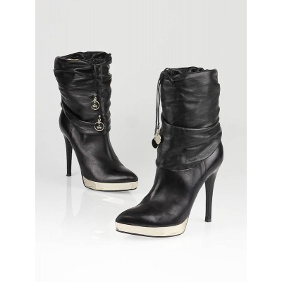 Gucci Black Leather High Heel Boots Size 8.5/39