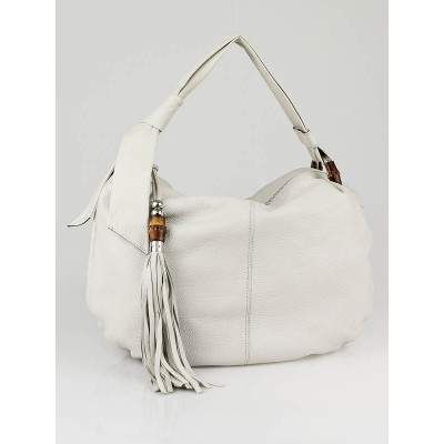 Gucci White Leather Jungle Medium Hobo Bag