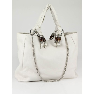 Gucci White Leather 'Jungle' Large Tote Bag