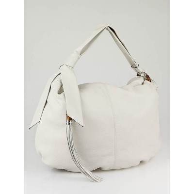 Gucci White Leather Jungle Large Hobo Bag