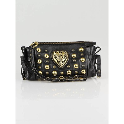 Gucci Black Leather Babouska Hysteria Evening Clutch Bag