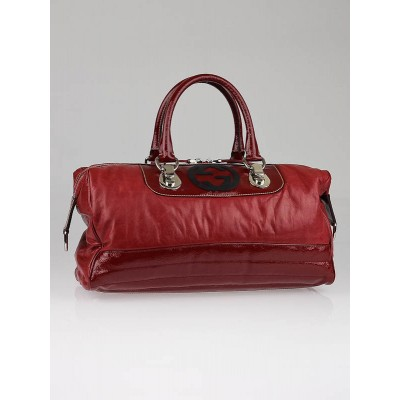 Gucci Red Leather Snow Glam Boston Bag