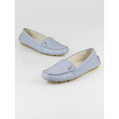 Gucci Light Blue Leather Driving Loafers Size 8.5/39
