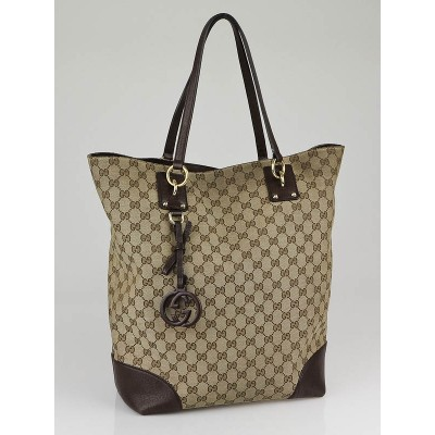 Gucci Beige/Ebony GG Canvas Large Charm Tote Bag