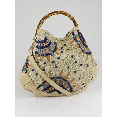 Gucci Beige Raffia Flowers Peggy Bamboo Top Handle Hobo Bag