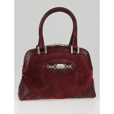 Gucci Bordeaux Suede and Horsebit Embossed Leather Small Tote Bag