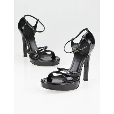 Gucci Black Patent Leather Platform Strappy Sandals Size 8B
