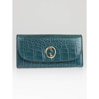 Gucci Teal Crocodile Leather Double G Continental Wallet