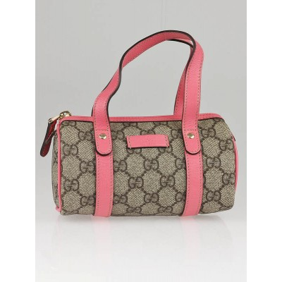 Gucci Beige/Pink GG Coated Canvas Mini Joy Boston Bag