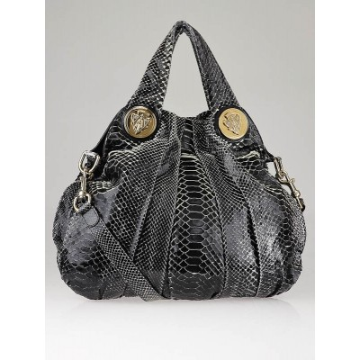 Gucci Black Python Hysteria Large Top Handle  Bag