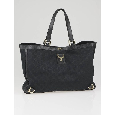 Gucci Black GG Fabric Abbey Large Tote Bag