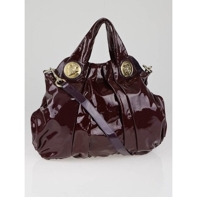 Gucci Burgundy Patent Leather Hysteria Large Top Handle Bag