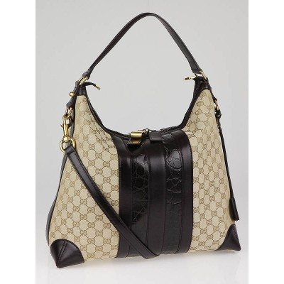Gucci Beige GG Canvas and Crocodile Trim Secret Medium Hobo Bag