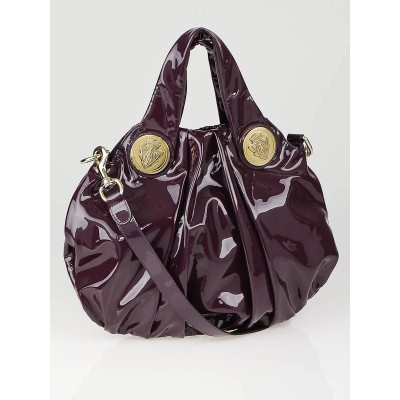 Gucci Burgundy Patent Leather Hysteria Small Top Handle Bag