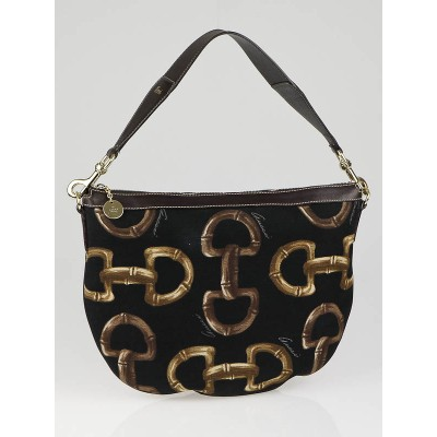 Gucci Black/Brown Canvas Bamboo Horsebit Hobo Bag