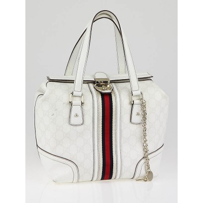 Gucci White GG Coated Canvas Vintage Web Treasure Boston Tote
