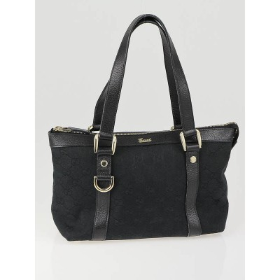 Gucci Black GG Canvas Small Abbey Tote Bag