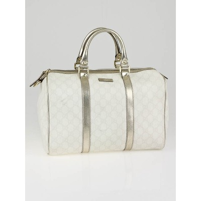 Gucci White GG Coated Canvas Joy Medium Boston Bag