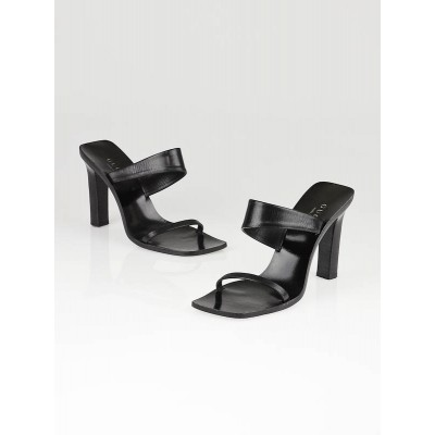 Gucci Black Leather High-Heel Sandals Size 7B