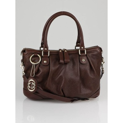 Gucci Brown Diamante Coated Canvas Sukey Top Handle Satchel Bag