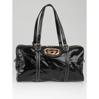 Gucci Black Dialux Britt Medium Boston Bag