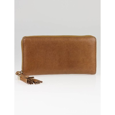 Gucci Caf' Brown Leather Marrakech Zippy Long Wallet