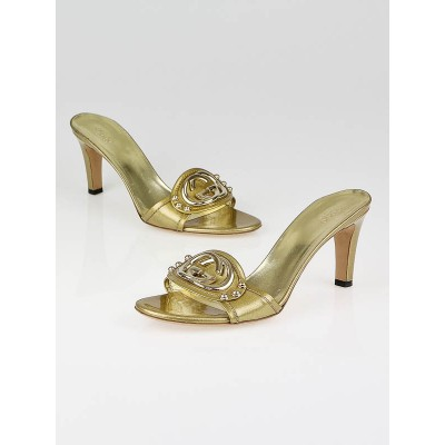 Gucci Gold Metallic Patent Leather GG Open Toe Sandals Size 8/38.5C