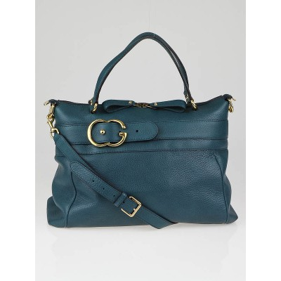 Gucci Teal Calfskin Leather Ride Tote Bag